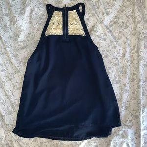 Francesca's Collections Tops - navy blue chiffon halter top